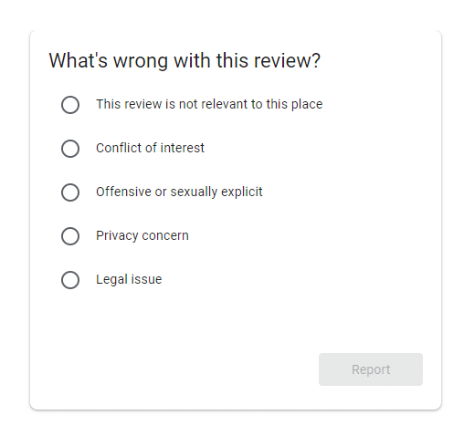 Negative Google My Business Listing Review